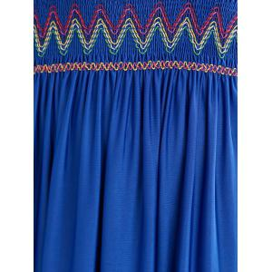 Boho Plunging Neck Ruched Embroidered Dress -