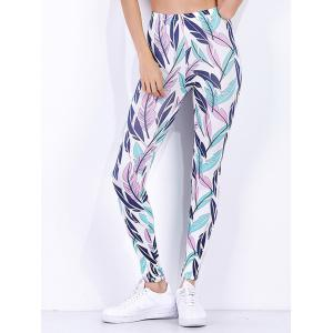 Tropical Leaf Printed High Waist Workout Leggings - White - Xl