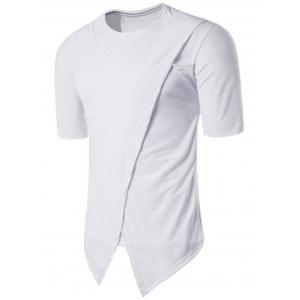 Asymmetric Panel Crew Neck Half Sleeve T-shirt