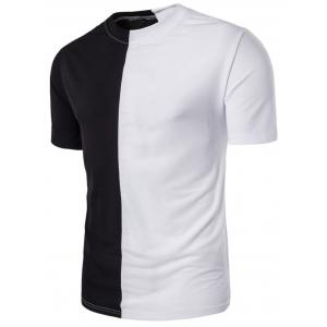 Crew Neck Color Block Panel Short Sleeve T-shirt - White And Black - 2xl