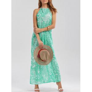 Halter Backless Maxi Print Boho Summer Dress - Green - Xl