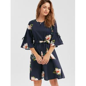 Flare Sleeve Floral Drop Waist Dress - Пурпурно-синий S