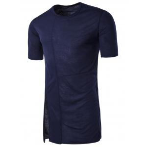 Half Sleeve Side Slit Panel Longline T-shirt