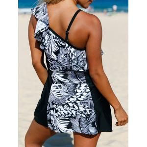 Detachable One Shoulder Skirted One-Piece Swimsuit with Ruffles - WHITE AND BLACK L