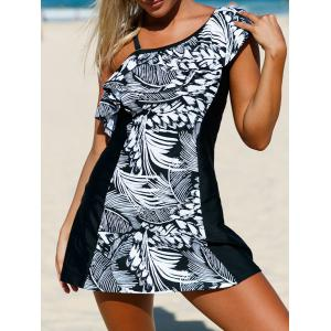 Detachable One Shoulder Skirted One-Piece Swimsuit with Ruffles - White And Black - 2xl