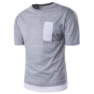 Color Block Panel Crew Neck Novelty Pocket T-shirt