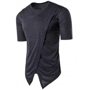 Asymmetric Panel Crew Neck Half Sleeve T-shirt - Deep Gray - Xl
