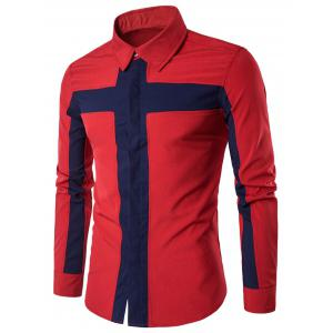 Color Block Cross Panel Cover Placket Shirt