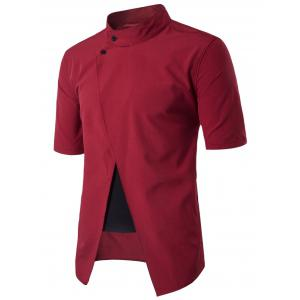 Faux Twinset Panel Stand Collar Short Sleeve Shirt - Red - L