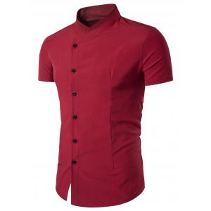 Oblique Placket Stand Collar Fitted Shirt