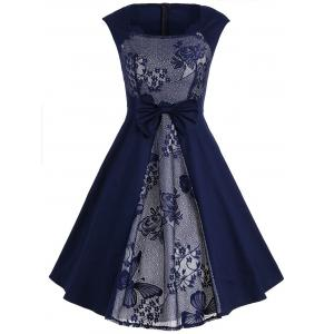 Bowknot Lace Panel Vintage Dress - Purplish Blue - L