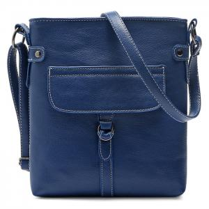 Faux Leather Stitching Crossbody Bag - Blue - 40