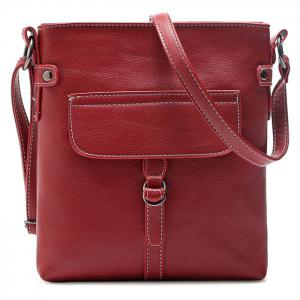 Faux Leather Stitching Crossbody Bag