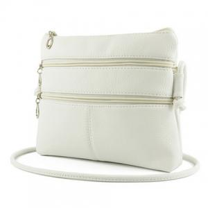 PU Leather Multi Zips Crossbody Bag