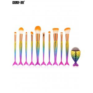 MAANGE 11Pcs Mermaid Tail Makeup Brushes with Chunky Foundation Brush - Deep Pink - M