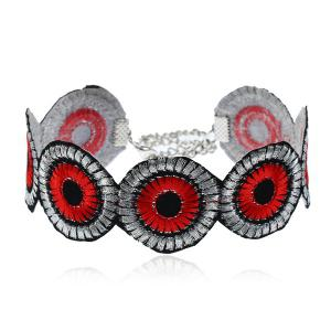 Ethnic Round Flower Embroidery Choker Necklace