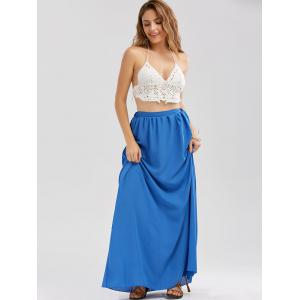 Casual Floor Length Chiffon Skirt - BLUE L