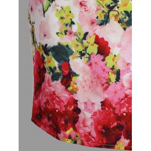 Floral Print Short Sleeve Dress - WHITE XL