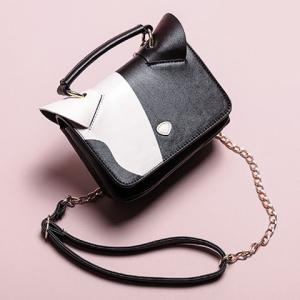 Color Block Cat Ear Crossbody Bag - Black - 2xl