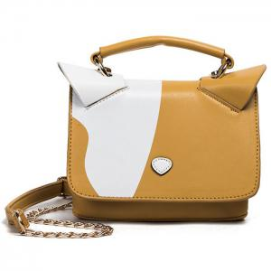Color Block Cat Ear Crossbody Bag - Yellow