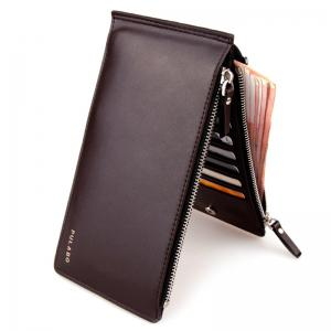 Bifold Faux Leather Organizer Wallet - Coffee - 40