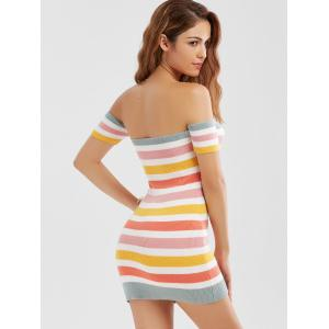 Knitted Colorful Striped Off The Shoulder Dress - COLORMIX S