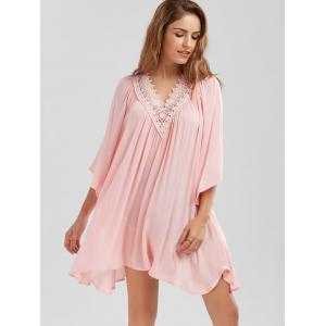 Lace Trim Flowing Crinkle Blouse - PINK 2XL