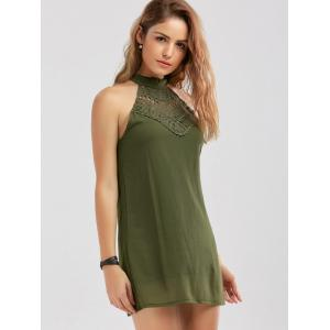 Crochet Lace Panel Cut Out Sleeveless Dress - Vert Armée L