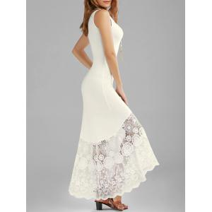 Scalloped Lace Panel Maxi Tank Dress - Off-white - 2xl