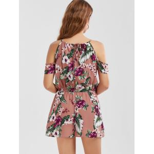 Dew Shoulder Tropical Leaf Pattern Romper - RUSSET-RED L