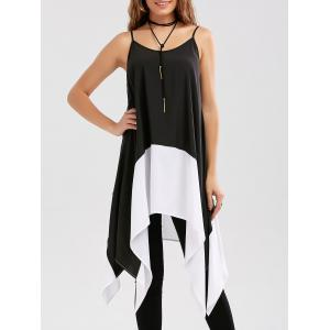 Two Tone Longline Handkerchief Cami Blouse - White And Black - M