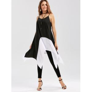 Two Tone Longline Handkerchief Cami Blouse - WHITE AND BLACK XL