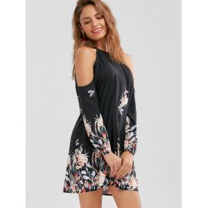 Long Sleeve Floral Border Print Shift Dress - BLACK M