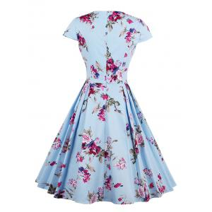 Vintage Floral Print A Line Pleated Dress - BLUE S