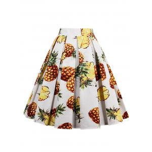 Pineapple Print High Waisted Pleated Skirt - WHITE 2XL
