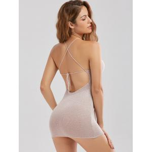 Knitted Criss Cross Backless Sheer Mini Tight Club Dress -