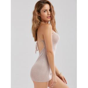 Knitted Criss Cross Backless Sheer Mini Club Dress - SHALLOW PINK ONE SIZE