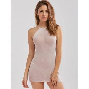 Knitted Criss Cross Backless Sheer Mini Dress - SHALLOW PINK ONE SIZE