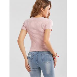 Ribbed Lace-up Knitted Top - PINK M