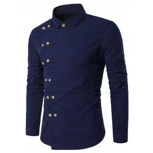 Double Breasted Turndown Collar Long Sleeve Shirt - Cadetblue - Xl