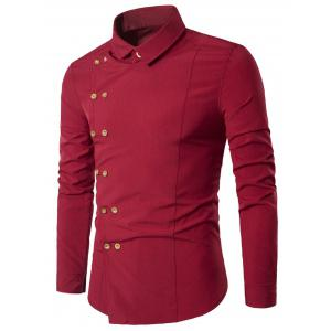 Double Breasted Turndown Collar Long Sleeve Shirt