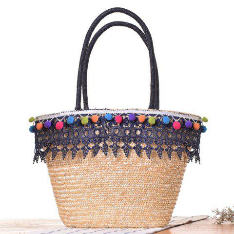 Straw Lace Pom Pom Tote Bag - Blue