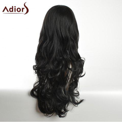 Fashion Adiors Long Inclined Bang Layered Curly Synthetic Wig - BLACK  Mobile