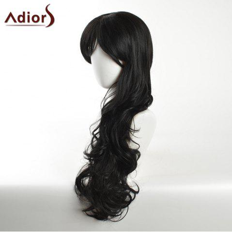 New Adiors Long Inclined Bang Layered Curly Synthetic Wig - BLACK  Mobile
