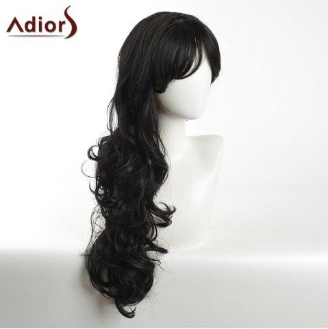 Affordable Adiors Long Inclined Bang Layered Curly Synthetic Wig - BLACK  Mobile