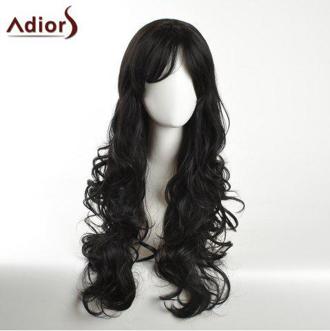 Latest Adiors Long Inclined Bang Layered Curly Synthetic Wig - BLACK  Mobile