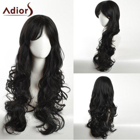 Chic Adiors Long Inclined Bang Layered Curly Synthetic Wig - BLACK  Mobile