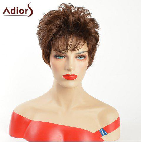 Latest Adiors Inclined Bang Short Layered Natural Straight Synthetic Wig - GOLD BROWN  Mobile