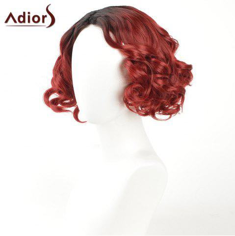 Fashion Adiors Short Curly Side Part Shaggy Layered Ombre Synthetic Wig - BLACK AND RED  Mobile