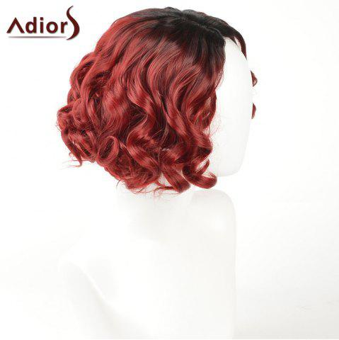 New Adiors Short Curly Side Part Shaggy Layered Ombre Synthetic Wig - BLACK AND RED  Mobile